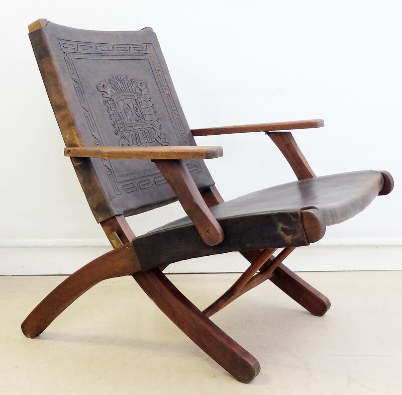 1950s, Peruvian Hand-Tooled Leather Folding armchair