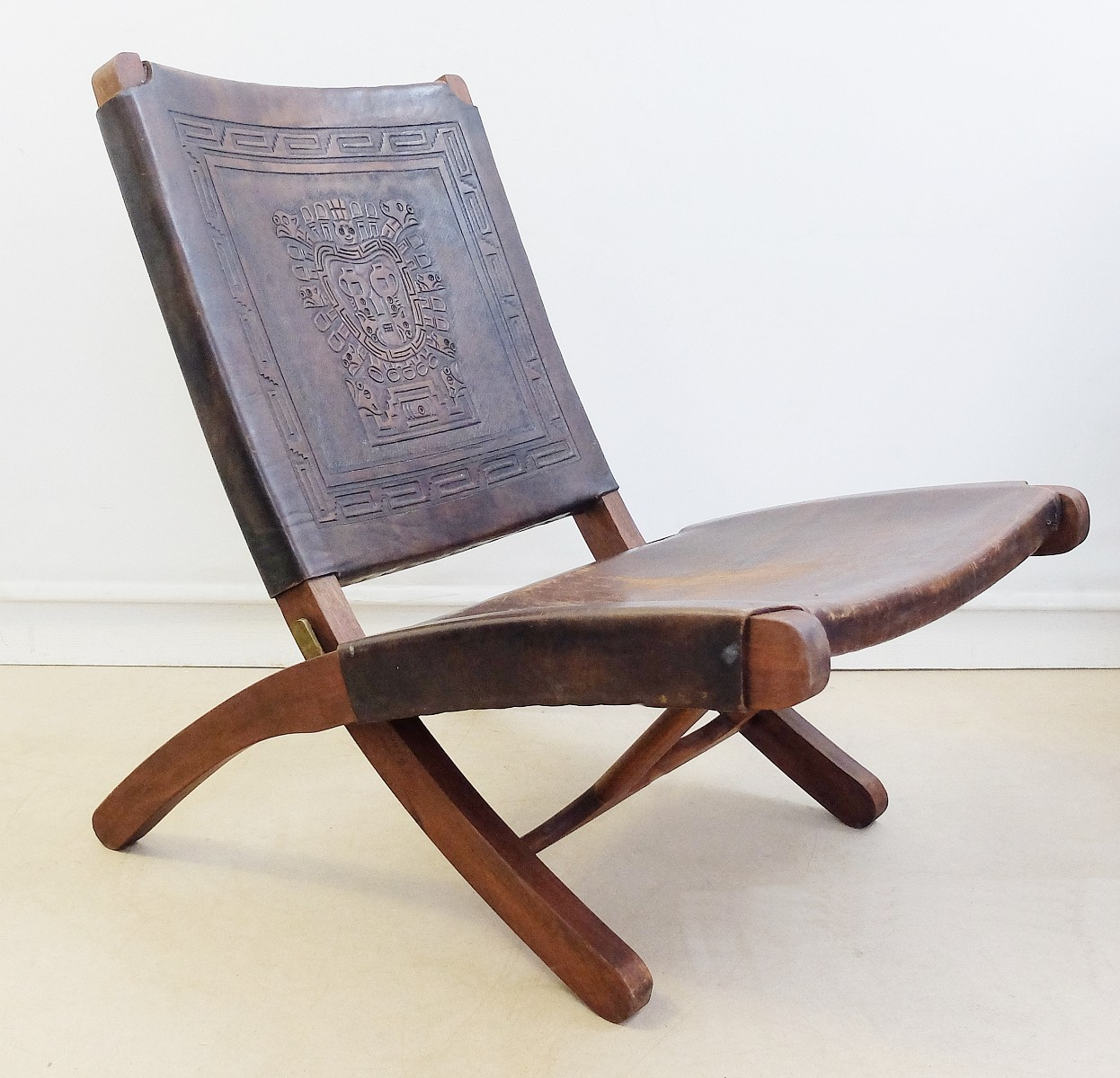 1950s, Peruvian Hand Tooled Leather Folding Chair