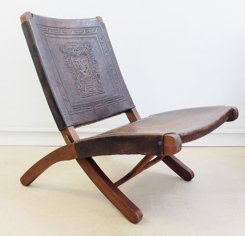 1950s, Peruvian Hand-Tooled Leather Folding Chair