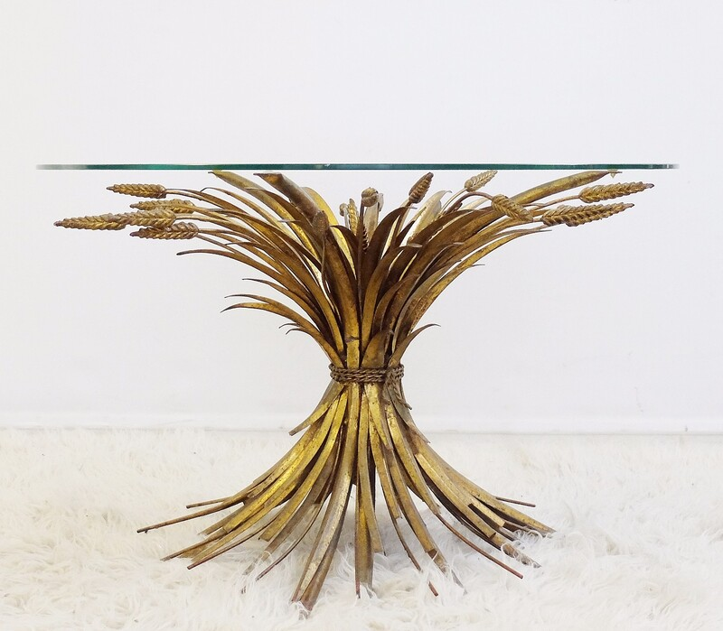 1970 'Pedestal Table Or Cofee Table In The Style Coco Chanel Gilded Metal