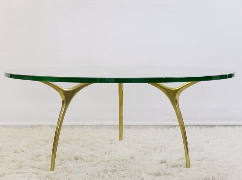 1970s Coffee Table In Glass And Polished Brass By Belgian Designer Kouloufi