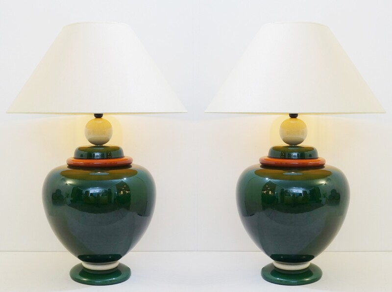 1970s pair of large table lamps by François Chatain, France