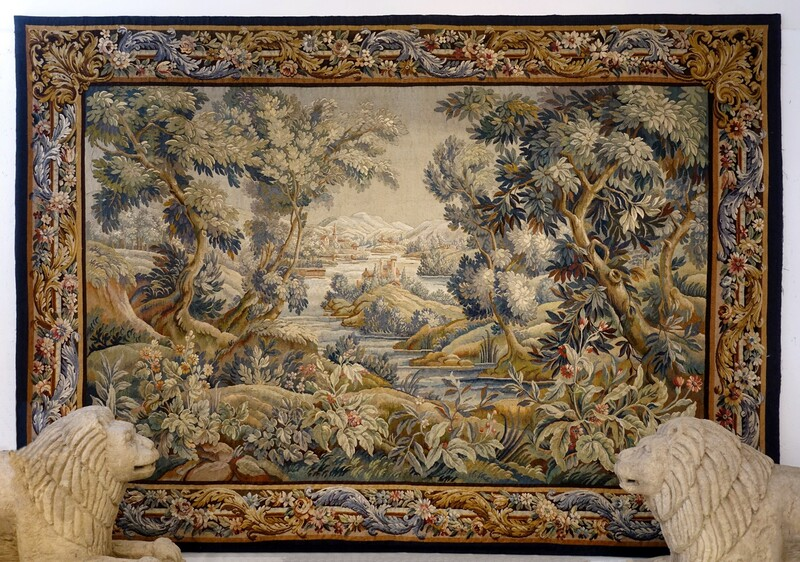 19th Century French Aubusson Verdure Garden Tapestry Wall Hanging