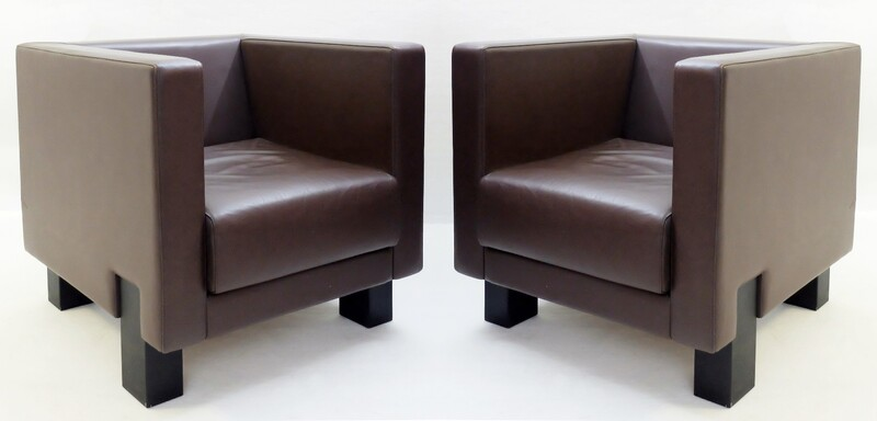 2 brown Leather Poltrona Frau 'Moji' Armchairs by Shigeru uchida