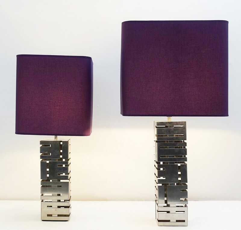2 Max Sauze Reticulated table lamps - new purple lampshade - Different sizes