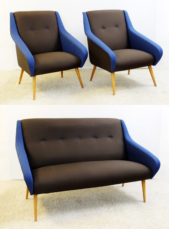 3-Piece Italian lounge suite in Chocolate and blue