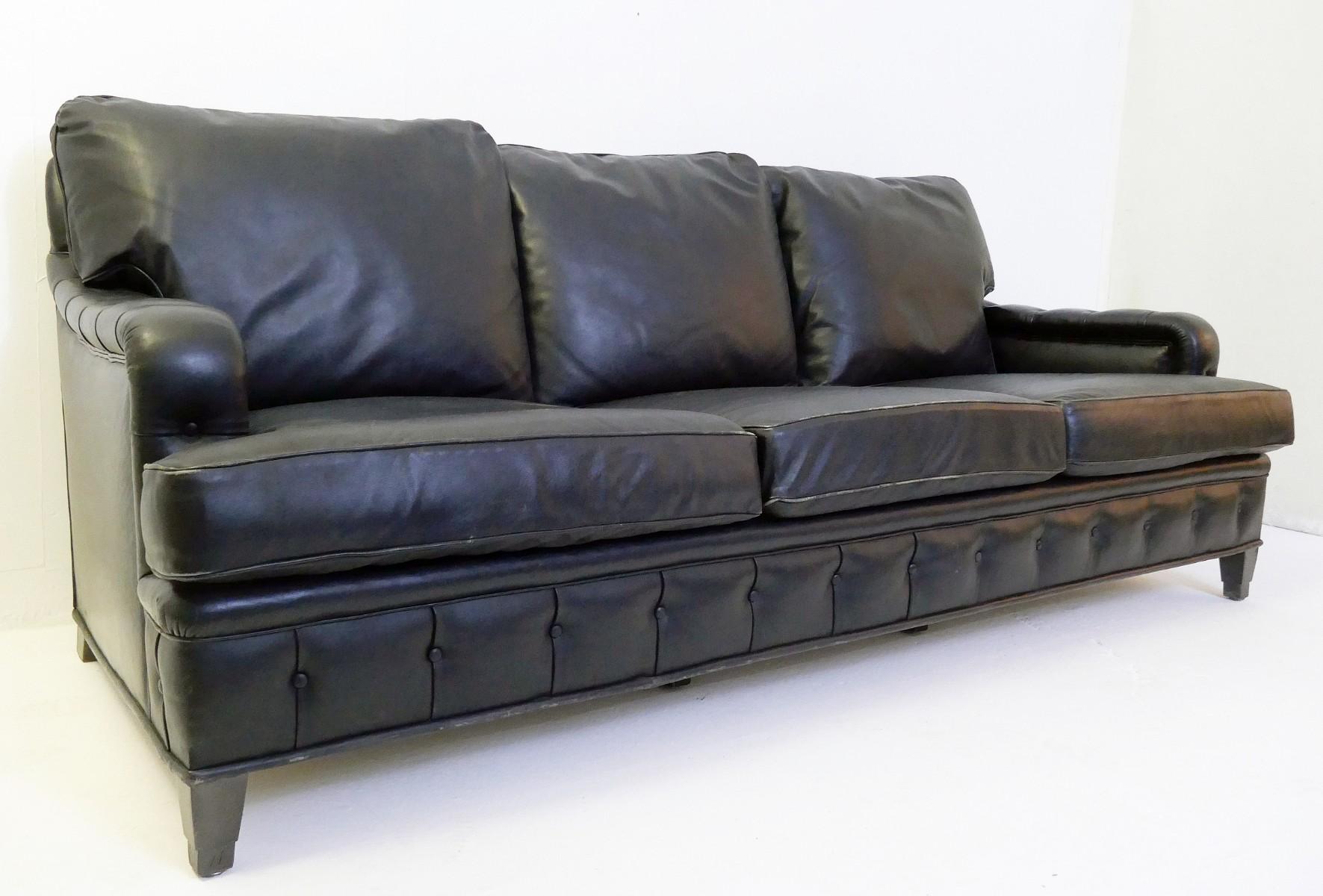 3 seater black leather sofa - Sofa - Seating - Via Antica