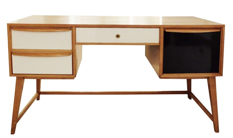 60' italian black and white wood desk