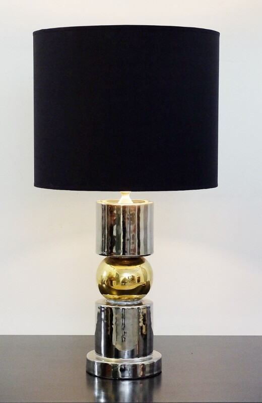 60's italian table lamp in ceramic silver and gold - Ceramiche Zaccagnini