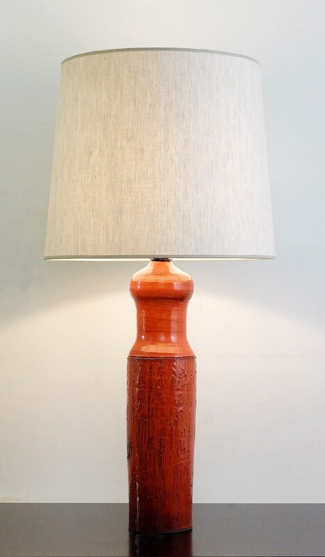 60's orange ceramic lamp by Oswald Tieberghien