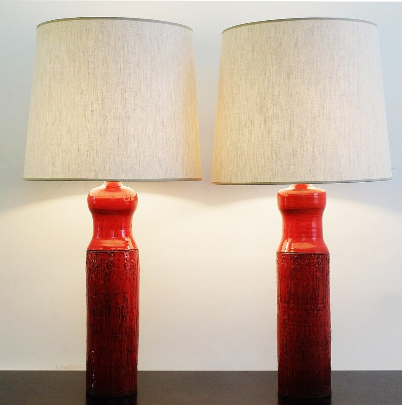 60's pair of red ceramic lamps by Oswald Tieberghien