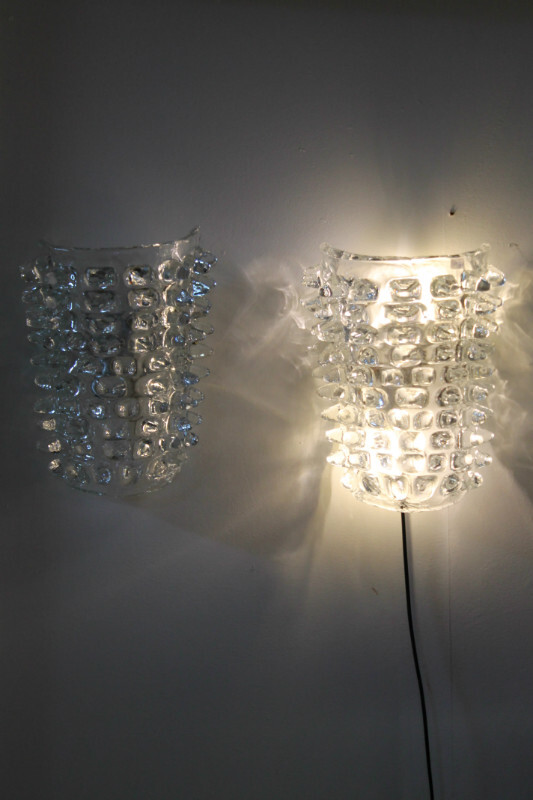 Pair of glass wall lamps