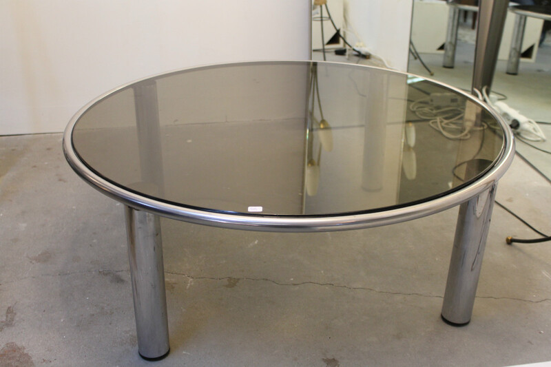 Chrome and smoked glass coffee table