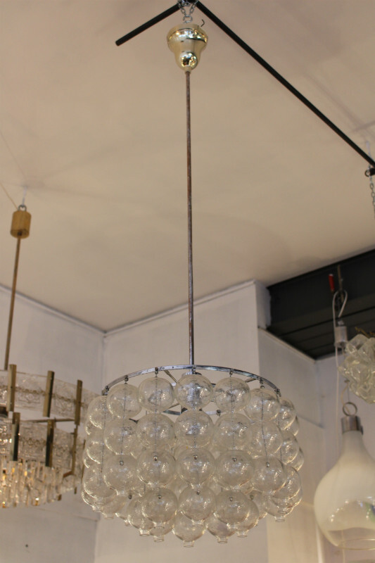 Chrome and glass ceiling light