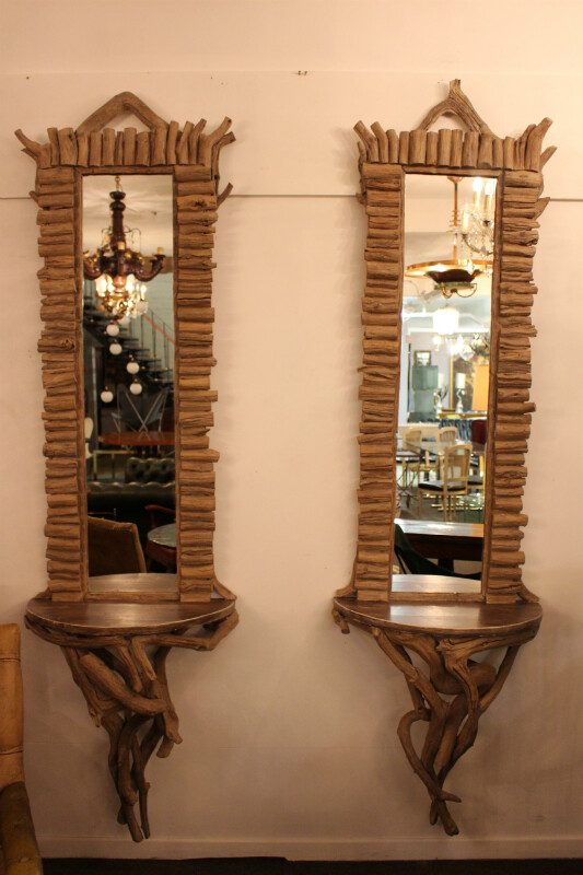 Pair of wood consoles with mirror