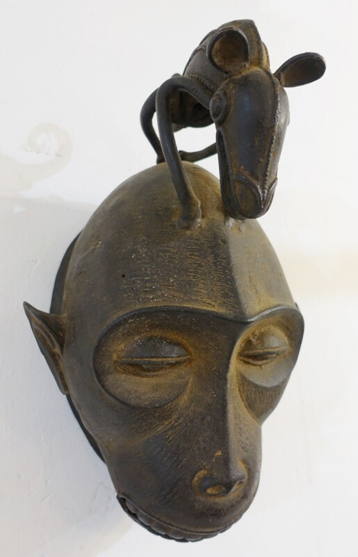 African zoomorphic cast iron mask - att. to the Bulu cameroon tribe