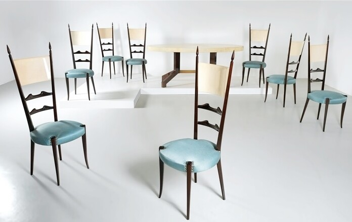 Aldo Tura parchment oval table and eight chairs, 1950 - 1960