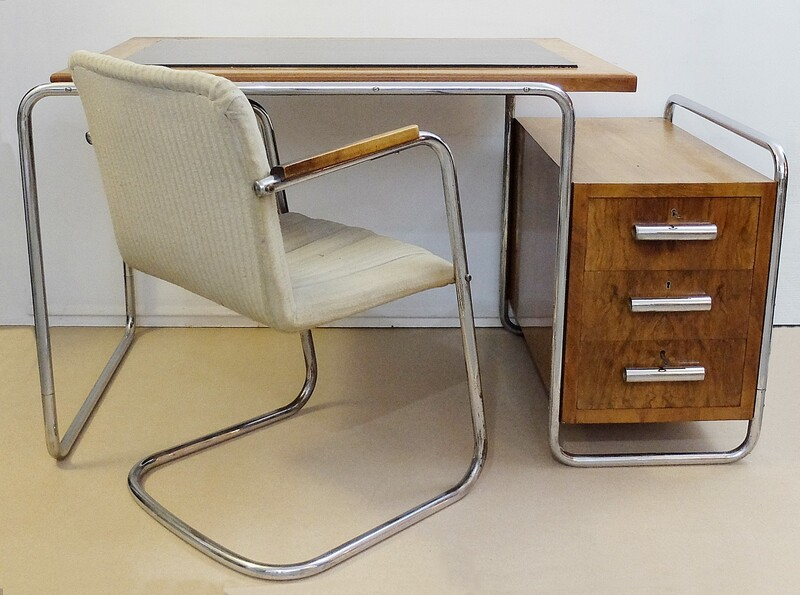 American Tubular Desk from Torck and chair set, 1950s