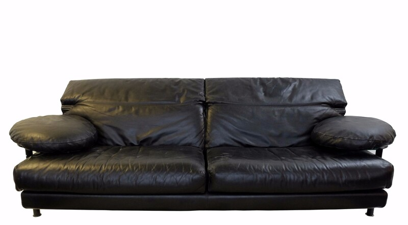 Arca Sofa in Black Leather by Paolo Piva for B&B Italia