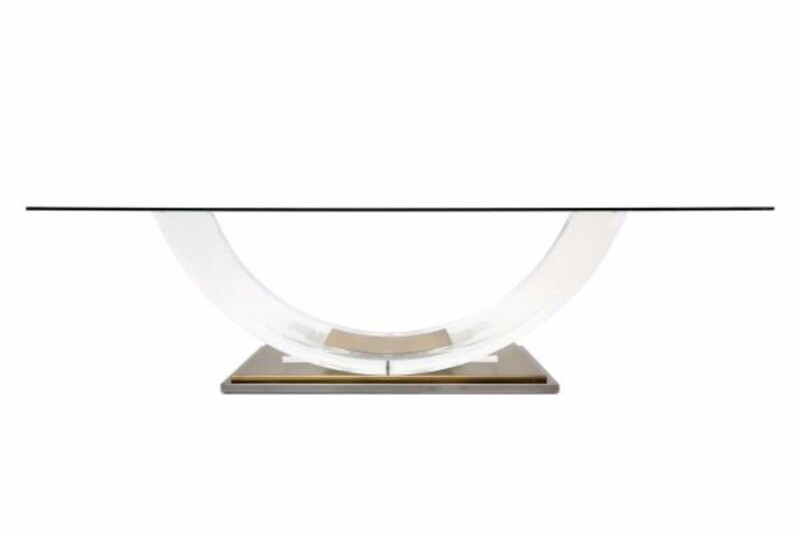 arched lucite table by hollis jones for belgo chrome