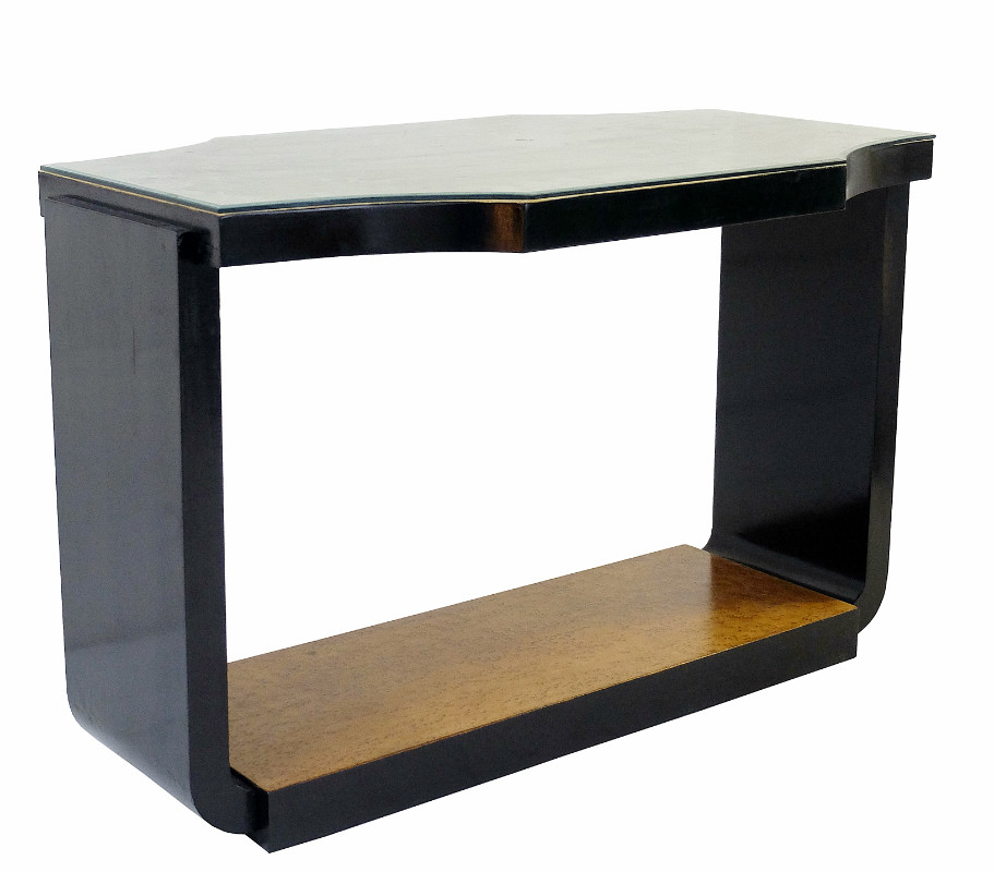 art deco console with a burl wood top and black lacquered. Black Bedroom Furniture Sets. Home Design Ideas