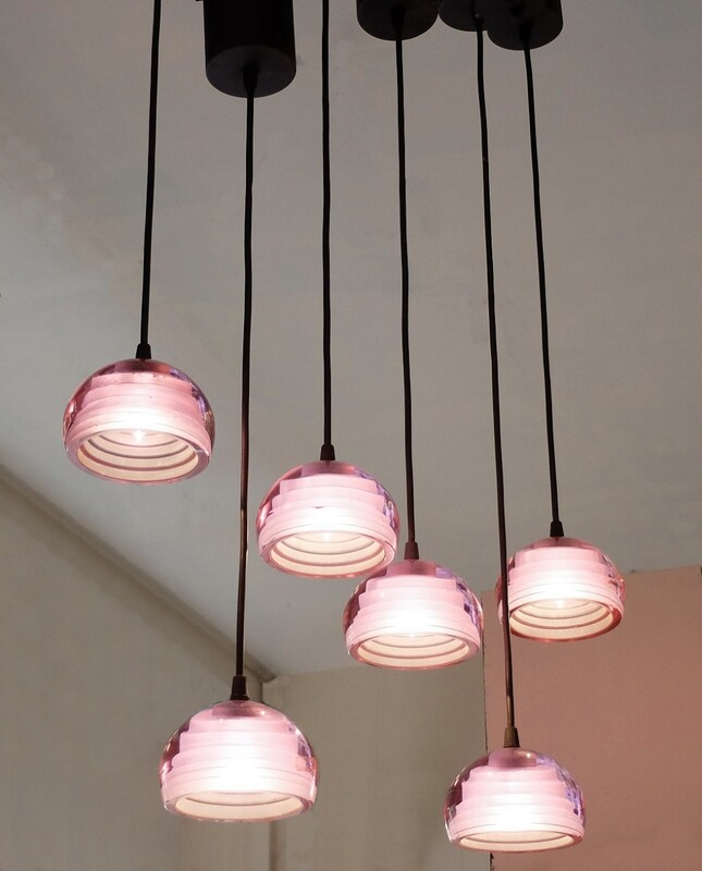AV Mazzega Set of six murano glass pink suspensions