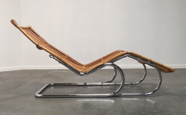 Bamboo and chrome lounge chair