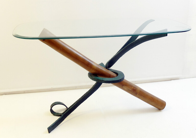 Bamboo and wrought iron console