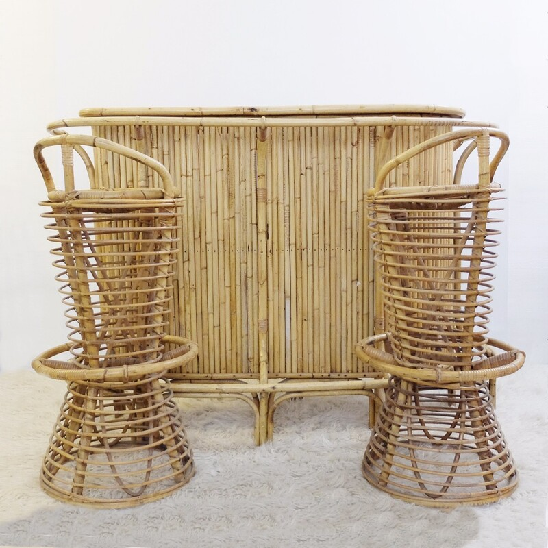 Bamboo Cocktail Bar & Two Stools Set