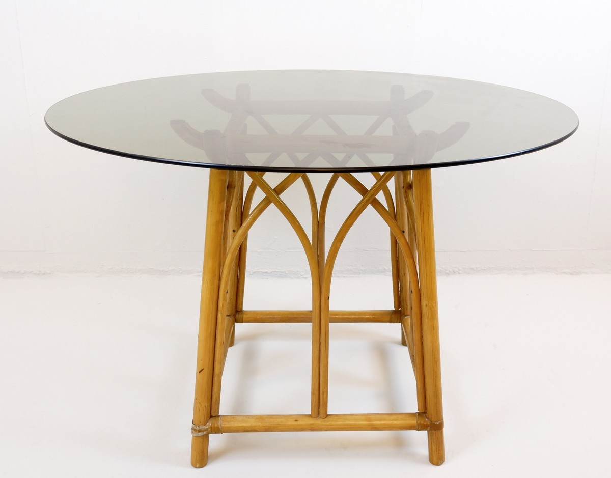 Bamboo Round Dining Table With Smoked Glass Top 1970s O110cm Glass Ceiling Search Results European Antiques Decorative