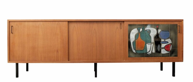 Belgium Teak Sideboard with Art Tile Panel Sliding Door by Vigneron
