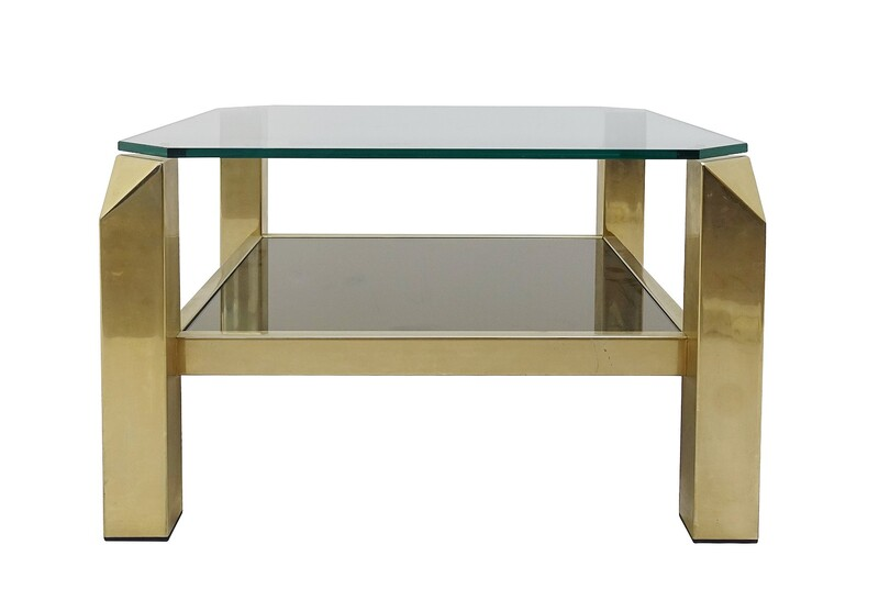 Belgo Chrome Gold Coffee Table In Glass And Metal - 1970S