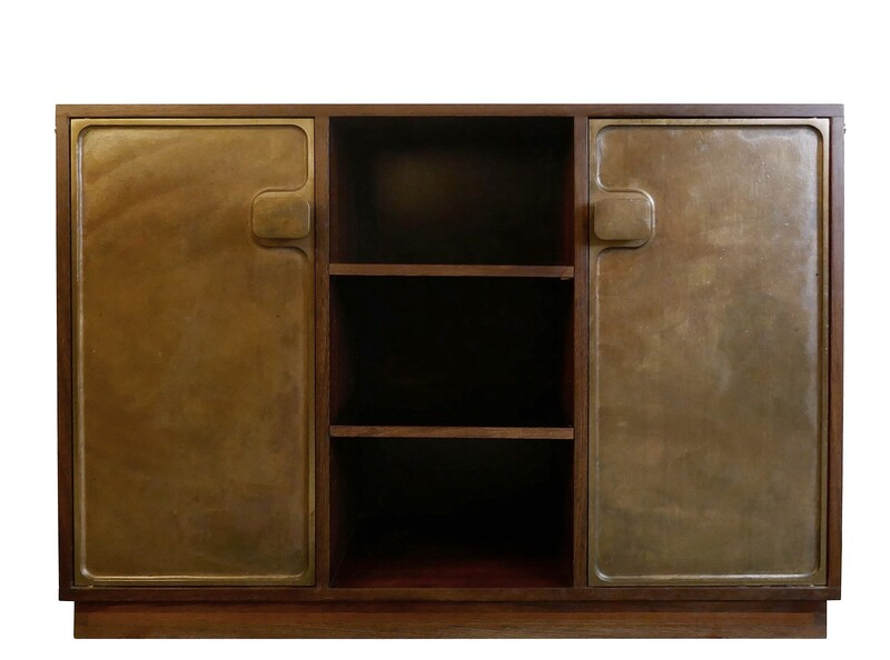 Bergwood cabinet with two bronze doors attr. to Antoine Callebaut - Belgium