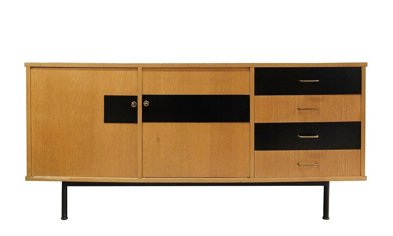 Black and wood sideboard