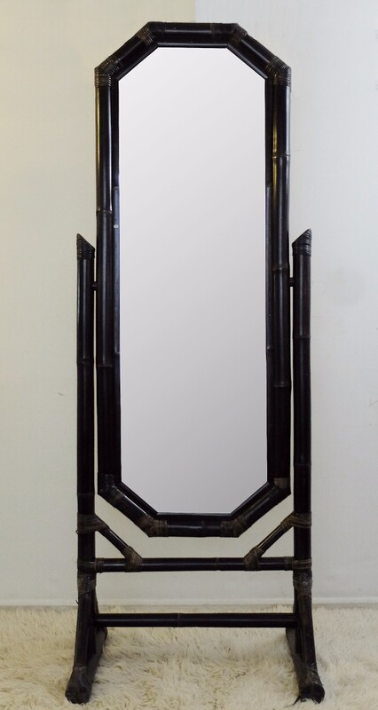 Black bamboo tilting floor mirror