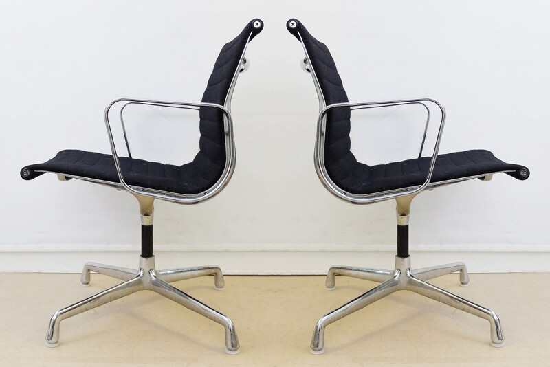 Black Fabric Herman Miller Original Eames EA108 Ribbed Office Chairs - 2 available