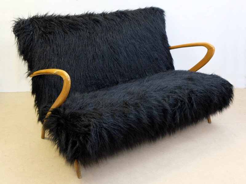 Black Faux Fur sofa