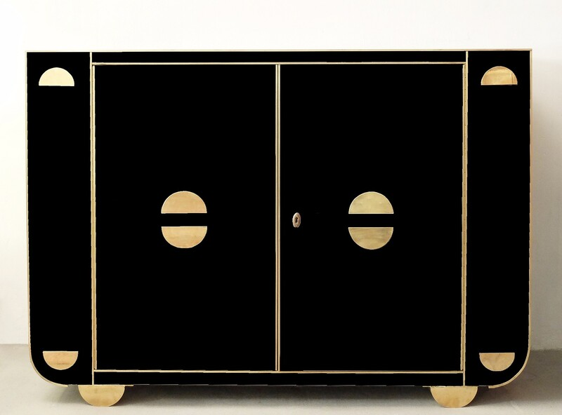 Black Glass and Brass Italian Cabinet