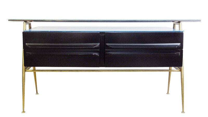 Black Italian sideboard with blue glass top