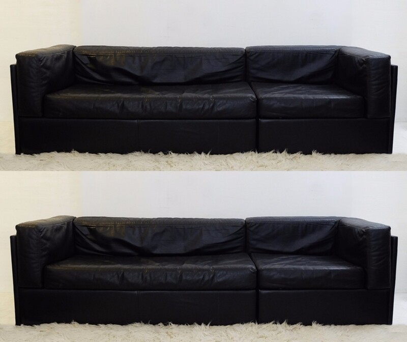 Black Leather Sofas Set