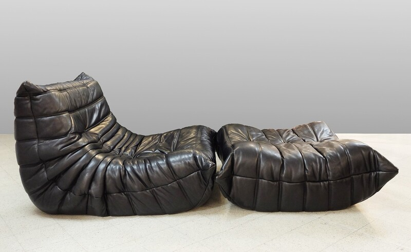 Black leather Togo Chair & Ottoman by Michel Ducaroy for Ligne Roset, 1970s