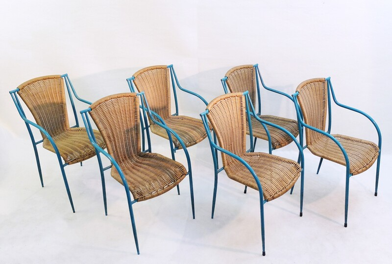 blue metal and rattan outdoor chairs - 14 available