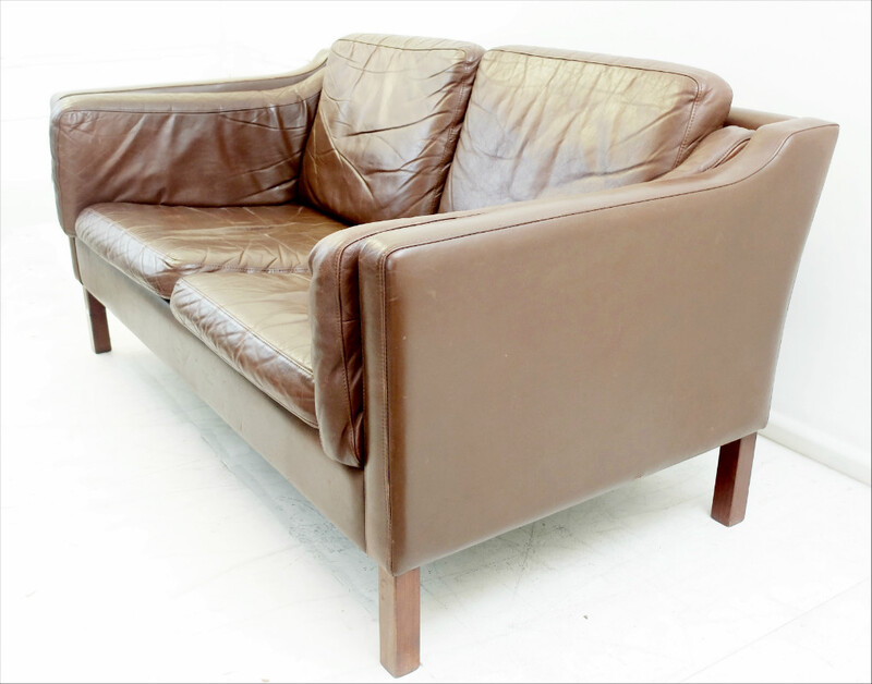 Borge Mogensen Tan Leather 2 Seater Sofa 2212 -  1960s