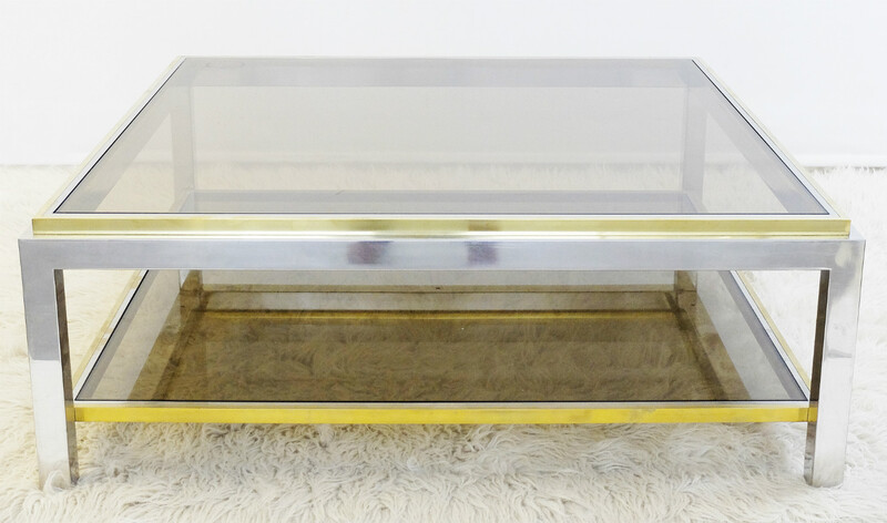 Brass and chrome two-tier coffee table, smoked glass.
