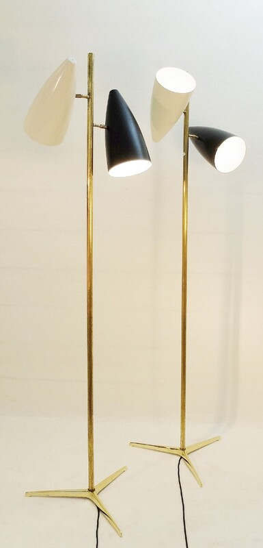 Brass and Enameled Metal Floor Lamp - 2 available