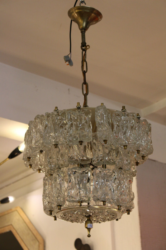 Brass and glass ceiling light - c. 1960