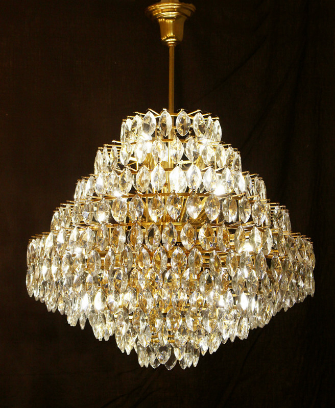 Brass and glass ceiling light, Schröder Luchten Germany