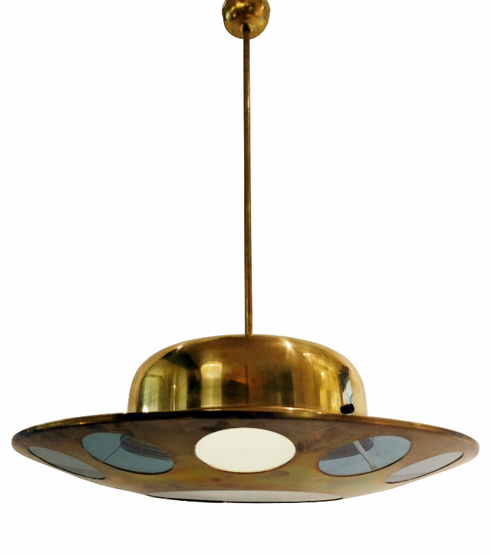 Brass and glass Italian 1950s Light Fixture with Circular Designs