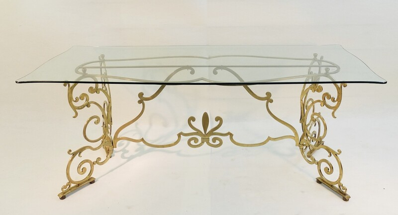 Brass And Glass Italian Console/Dining Table