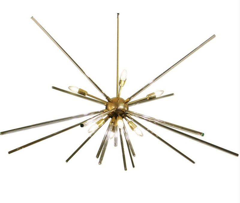 Brass and glass sputnik ceiling light